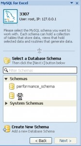 Select database schema