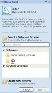 Select database schema